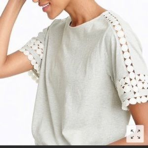 J Crew Lace Embroidered Trim Top Size Large
